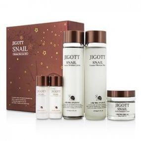 Jigott Facial Skin care Snail Essence Moisture 3Set -Набор с муцином улитки